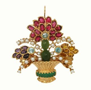 Amazing 14k Gold Pearls Gems Ladies Pin Brooch Pendant