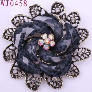 Flower Gemstone Alloy Ladies Fre SHIP Pins Brooch WJ0458