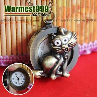 Antique Bronze Vintage Lady Charm Cat Quartz Pocket Watch Pendant