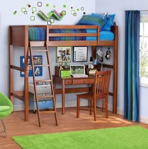 Back To School Twin Bed Loft Set Kids Boy Girl Bedroom Furniture Brand