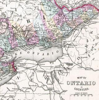 STATE COUNTY MAP ONTARIO NORTH AMERICA CHART LAKE ERIE HURON ART