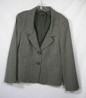 LAFAYETTE 148 New York black gray stretch wool blend blazer jacket 10