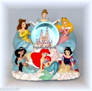 Princess Figurine Snowglobe Musical Water Globe Cinderella Belle Ariel