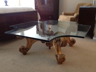 Mid Century Labarge Glass Top Coffee Table with Gold Wood Base