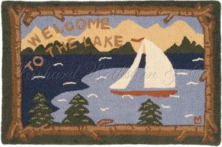 Rustic Cabin Lodge Lake House Welcome Home Kitchen Door Mat Rug