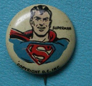 1940s Superman Button Pin Kelloggs Pep Cereal Button Pinback Pin Box