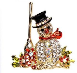 Ladies Christmas Frosty Snowman Holiday Rhinestone Crystal Brooch Pin