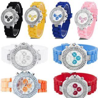 Design Silicone Crystal Quartz Ladies Women Jewelry Wrist Watch