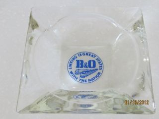 Vintage B O Railroad Train Glass Ashtray