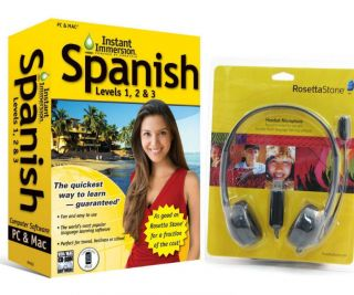 NEW Language Software Instant Immersion Spanish AND Rosetta Stone USB