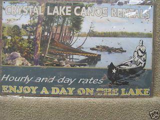 Crystal Lake Canoe Rentals Tin Metal Advertising Sign