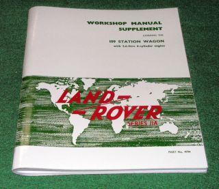 Land Rover Series IIa 6 Cylinder Workshop Manual Nada