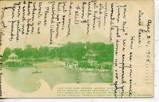 MK T Katy Railroad Advertising Postcard Lake Park Springs Iola