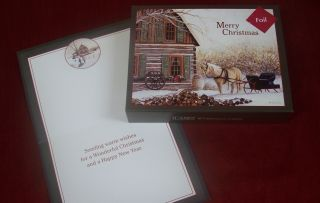 Embellished LANG Boxed Christmas Cards CABIN & SUNSET w/ art by Kevin