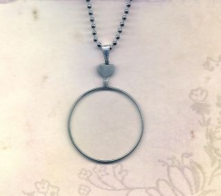 Vintage Monocle Type Optical Lens Necklace Silver Chain