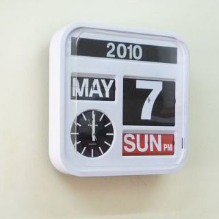 Fartech Retro Modern 17 Large Calendar Flip Wall Clock White