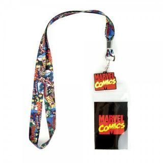 Marvel Lanyard School ID Holder Keychain Avengers Superhero Comic