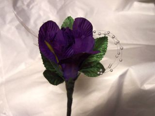 Wedding Supplies Mens Boutonniere Purple Iris Lapel Silk Flower