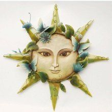 Celestial Large Smiling Sun Face Painted Metal Outdoor Indoor Wall