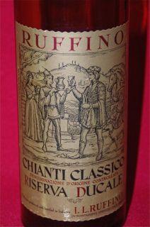 1967 BROWN AMBER GLASS RUFFINO CHIANTI EMPTY WINE BOTTLE ITALY ITALIAN