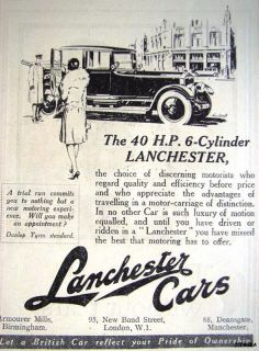 Original 1927 Lanchester 40HP 6 Cylinder Car Auto Advert Small Vintage