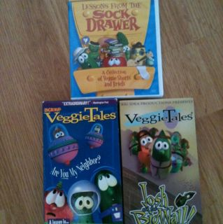 VHS VEGGIE TALES MOVIE LOT Larry Josh Big Wall Lesson From Sock Drawer