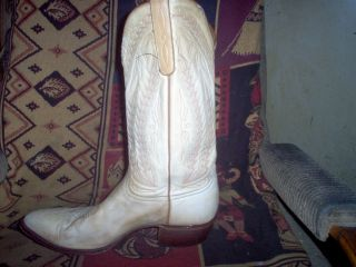 Larry Mahan Beige Tan Leather Western Boots Mans Size 11 D