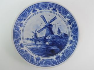 Vintage Delft Blue Blauw Hand Painted Plate with Windmill Canal Made