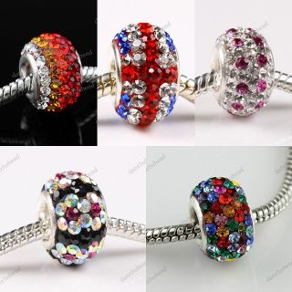 Silver Mixed Swarovski Crystal European Big Hole Charm Bead
