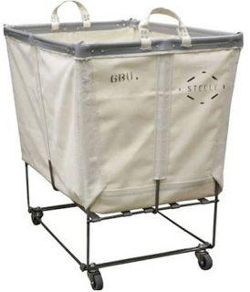 Laundry Cart White Canvas Basket Truck on Wheels