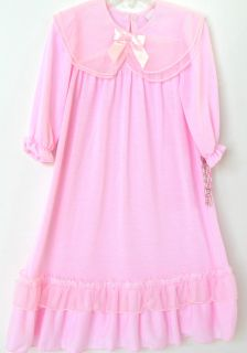 Laura Dare Pink Jersey Chiffon Ruffled Long Sleeve Night Gown 2 3 5 6