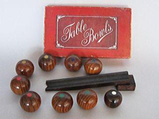 Set of Vintage Wooden Table Top Bowls Bowling Balls Carpet Lawn