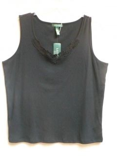Ralph Lauren Woman Plus Size Black Tank Top Lace Trim 3X $45