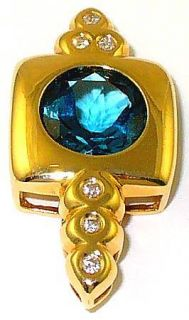 14k Laura Ramsey Diamond London Blue Topaz Pendant