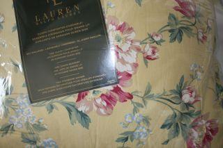 4P New Ralph Lauren Parsonage Lane Yellow Floral Queen Comforter Shams
