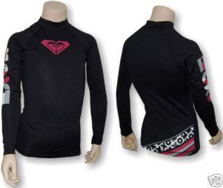 Roxy Delish LS Rash Guard Swim Shirt Black Girls 4