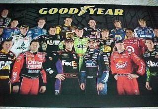 Collectible 2011 NASCAR Goodyear Racing Family Poster 34x11 Race