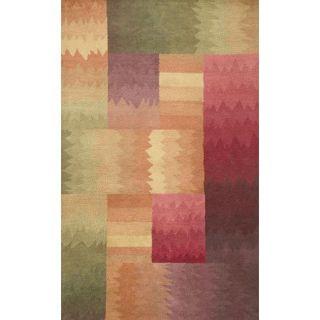 Area Rug 3x5 Wool Modern Geometric Red Orange Green Purple Fun Blocks