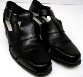 Hook Womens Black Leather Med Large Chunky Heels Shoes Size 8 1 2