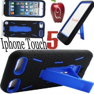 iPod Touch 5 GEN Hybrid IMPACT HARD SOFT SKIN BLACK CASE Cover BLUE