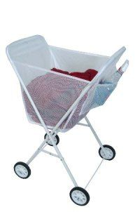 Laundry Cart with White Mesh Bag