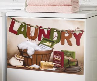 Laundry Room Decor Magnetic Washer Cover with Vintage Oldtime Laundry