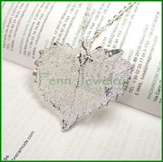 Real Leaf Necklace Sterling Silver DIP Heart Pendant