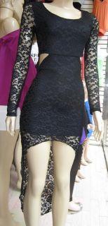 Asymmetrical High Low Long Sleeve Lace Dress