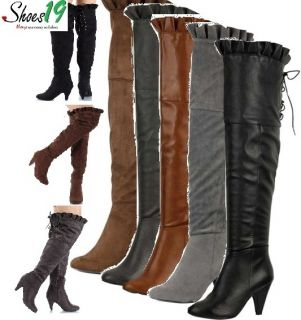 Ruffles High Thick Heel Side Zipper Boots Women Leann Shoes