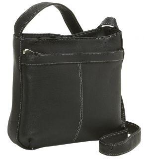 Le Donne Leather Shoulder Bag w Exterior Zip Pocket