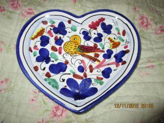 Made in Italy Lavorato E Dipinto A Mano Deruta Heart Plate Bird