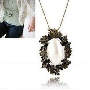 Sale Bohemia Retro Leaf Imitation Pearl Necklace 33