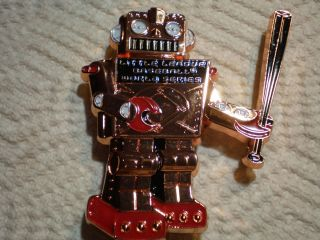 Little League Pin 3 1/2  COPPER METAL & RED ROBOT FROM WORLD SERIES