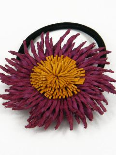 Leather Corn Flower Ponytail Holder Hair Tie Bow BJB4 B Purple